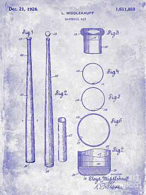 1926 Baseball Bat Patent Blueprint Poster by Jon Neidert
