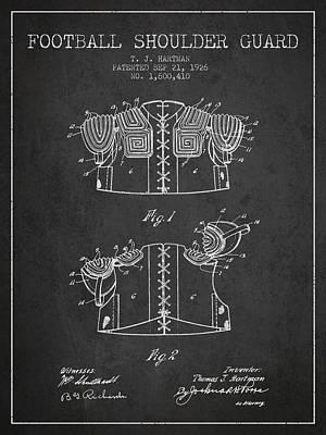 1926 Football Shoulder Guard Patent - Charcoal Poster