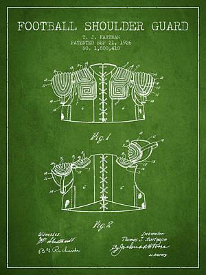 1926 Football Shoulder Guard Patent - Green Poster