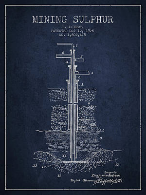 1926 Mining Sulphur Patent En37_nb Poster by Aged Pixel
