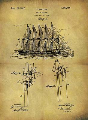1927 Sail Ship Patent Poster by Dan Sproul