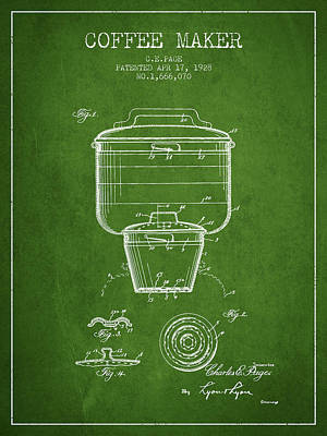 1928 Coffee Maker Patent - Green Poster by Aged Pixel