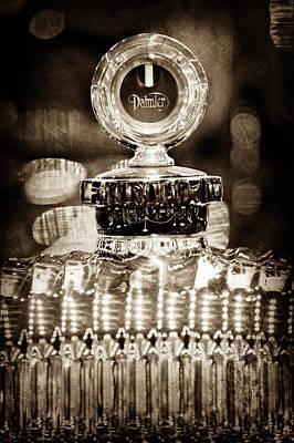 Poster featuring the photograph 1928 Daimler Hood Ornament - Moto Meter -0616s by Jill Reger