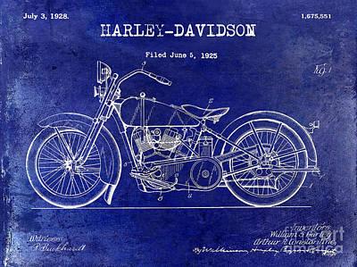 1928 Harley Davidson Patent Drawing Blue Poster by Jon Neidert