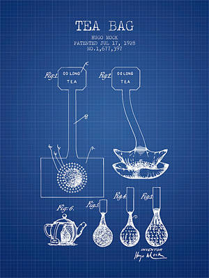 1928 Tea Bag Patent 02 - Blueprint Poster by Aged Pixel