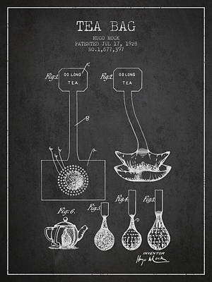 1928 Tea Bag Patent 02 - Charcoal Poster by Aged Pixel