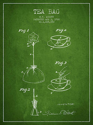 1928 Tea Bag Patent - Green Poster