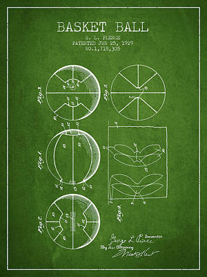 1929 Basket Ball Patent - Green Poster by Aged Pixel