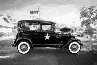 Poster featuring the photograph 1929 Ford Model A Tudor Police Sedan Bw by Rich Franco