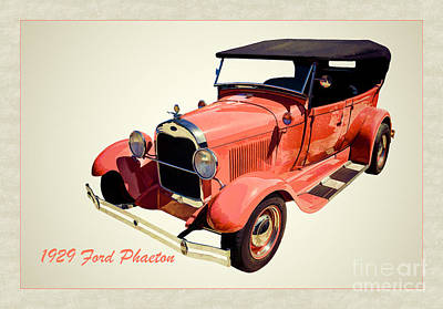 1929 Ford Phaeton Antique Car In Red Color Painting 3498.02 Poster by M K  Miller