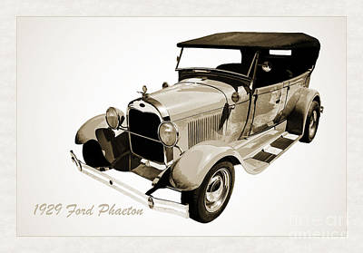 1929 Ford Phaeton Antique Car In Red Sepia Painting 3498.01 Poster by M K  Miller