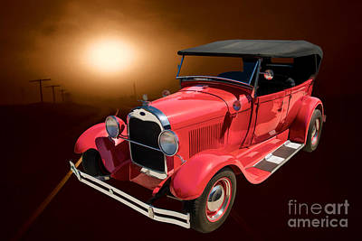 1929 Ford Phaeton Classic Car In Moonlight Painting 3499.02 Poster by M K  Miller