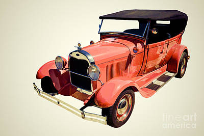 1929 Ford Phaeton Classic Car In Red Painting 3498.04 Poster by M K  Miller