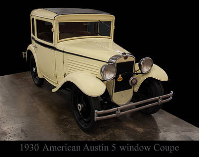 Poster featuring the digital art 1930 American Austin 5 Window Coupe by Chris Flees