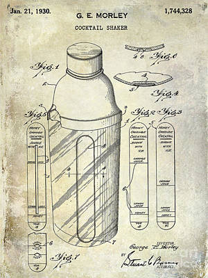 1930 Cocktail Shaker Patent Poster by Jon Neidert