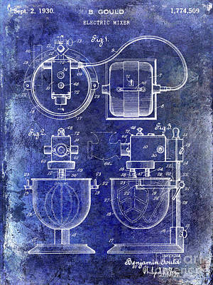 1930 Electric Mixer Patent Blue Poster