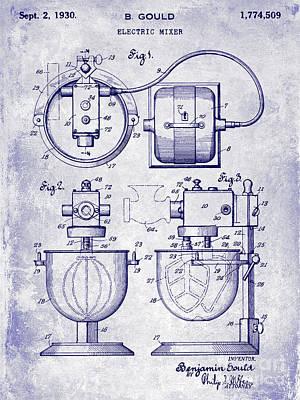 1930 Electric Mixer Patent Blueprint Poster