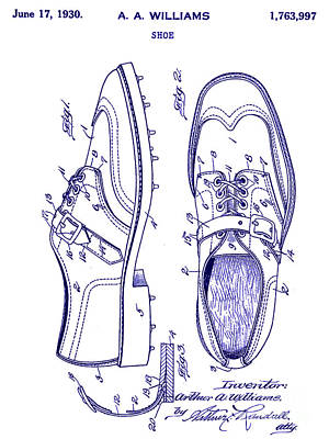 1930 Golf Shoe Patent Blueprint Poster by Jon Neidert