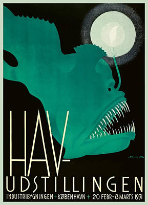 1931 Denmark Anglerfish Sea Exhibition Advertising Poster Poster
