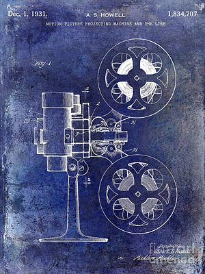 1931 Movie Projector Patent Blue Poster