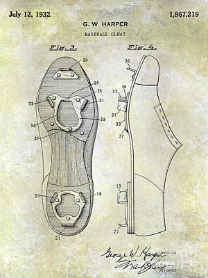 1932 Baseball Cleat Patent Blueprint Poster