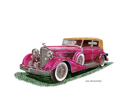 Poster featuring the painting 1932 Cadillac All Weather Phaeton V 16 by Jack Pumphrey
