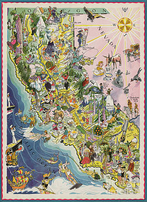 1932 Caricature Map Of California Poster