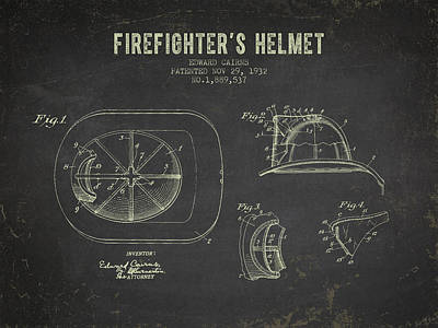 1932 Firefighters Helmet Patent - Dark Grunge Poster by Aged Pixel