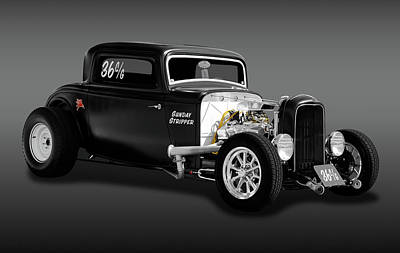 1932 Ford 3 Window Coupe - Sunday Stripper  -  1932deucecoupefa170803 Poster