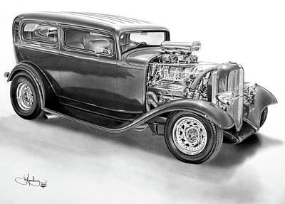 1932 Ford Tudor Drawing Poster