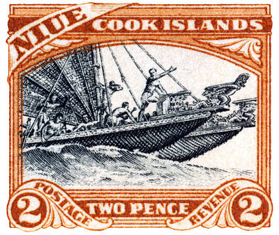 Poster featuring the painting 1932 Niue Island Stamp by Historic Image