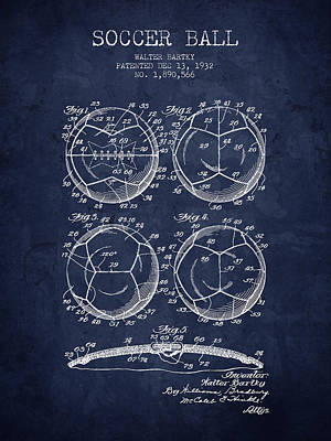 1932 Soccer Ball Patent Drawing - Navy Blue - Nb Poster by Aged Pixel