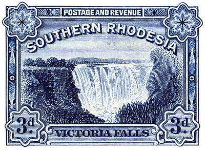Poster featuring the painting 1932 Southern Rhodesia Victoria Falls Stamp by Historic Image
