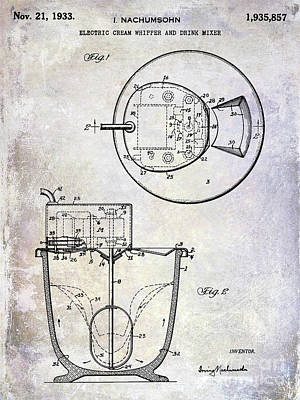 1933 Electric Cream Whipper Patent Poster