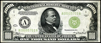 1934 One Thousand Dollar Bill Poster by Historic Image