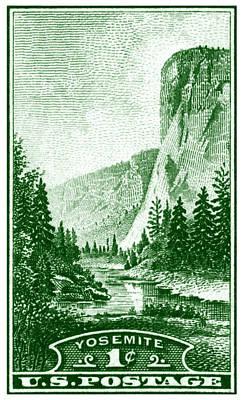 1934 Yosemite Park Stamp Poster