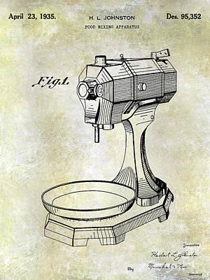 1935 Food Mixing Apparatus Patent Poster