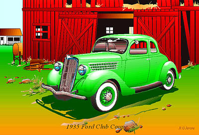 1935 Ford 5 Window Coupe Poster by Robert G Jerore