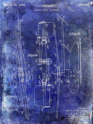 1935 Helicopter Patent Blue Poster