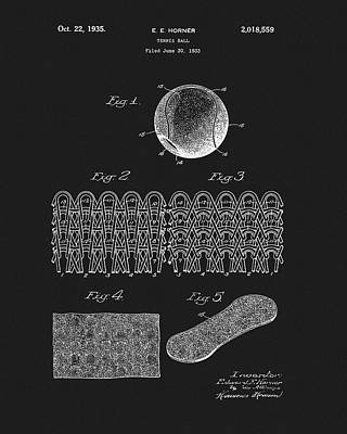 Poster featuring the mixed media 1935 Tennis Ball Patent by Dan Sproul