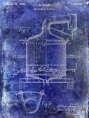 1936 Beer Brew Kettle Patent Blue Poster by Jon Neidert