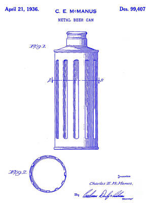 1936 Beer Can Patent Blueprint Poster by Jon Neidert
