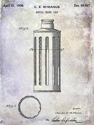 1936 Beer Can Patent Poster by Jon Neidert