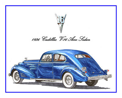 Poster featuring the painting 1936 Cadillac V-16 Aero Coupe by Jack Pumphrey