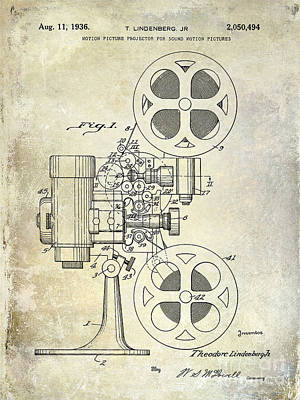 1936 Movie Projector Patent Poster