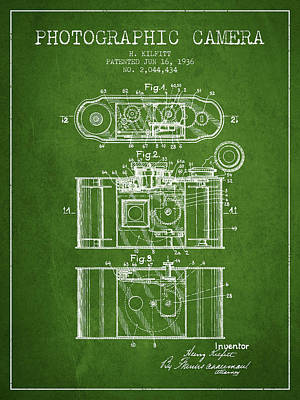 1936 Photographic Camera Patent - Green Poster by Aged Pixel