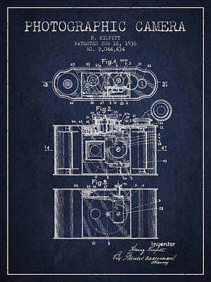1936 Photographic Camera Patent - Navy Blue Poster by Aged Pixel