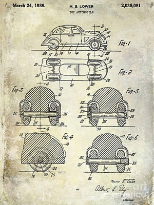1936 Vw Toy Car Patent Poster