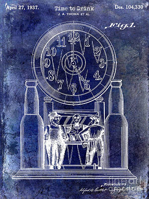 1937 Beer Clock Patent Blue Poster