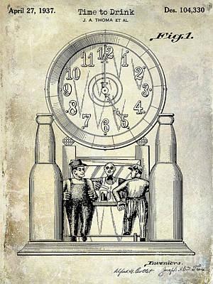 1937 Beer Clock Patent Poster